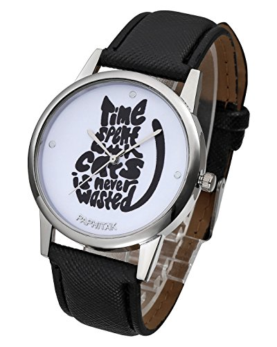 Top Plaza Unique Casual Letters Cat Dial PU Leather Strap Analog Quartz Watch Cute Lovely Cartoon Pattern Wrist Watch-Black (Cartoon Casual Pattern)