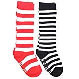 juDanzy knee high tall socks with grips for babies, toddlers, and children (12-24 Months, Red/White & Black/White)