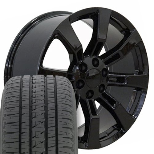 22x9 Wheels, Tires, Lugs and TPMS Fit GMC Chevy Trucks and SUVs - Cadillac Escalade Style Black Rims w/Bridgestone Tires, Hollander 5409 - (Chevy Truck Tires)
