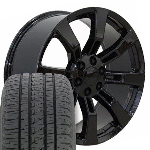 SET of 22x9 Wheels & Tires Fit GM Trucks & SUV - Cadillac Escalade Style Black Rims, Hollander 5409 (22 Inch Rims Suv)