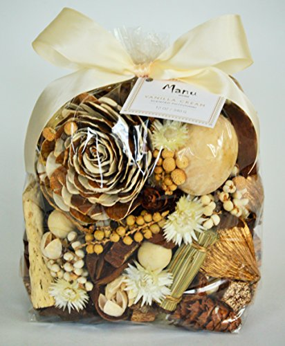 Manu Home Large Vanilla Potpourri bag~ The delectable scent of authentic vanilla bean blended with warm woods and amber-all in a colorful mix that fills a room with fragrance ~Made in the USA!