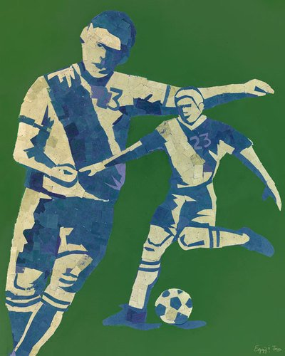 Oopsy Daisy Mosaic Soccer Player Stretched Canvas Wall Art by Jones and Eggy, 24 by 30-Inch by Oopsy Daisy