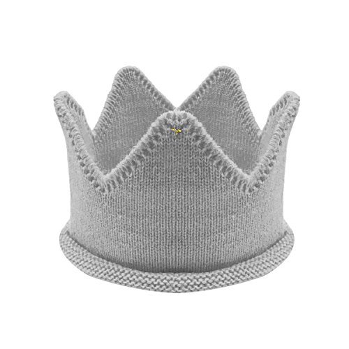 (Bowbear Little Prince & Princess Knitted Birthday Party Crown Hat, Light Gray)