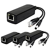ANVISION 4-Pack Active 12V PoE Splitter Adapter, 5.5mm x 2.5mm Plug, IEEE 802.3af Compliant 10/100Mbps, DC 12V Output for IP Camera Wirelss AP Voip Phone and more