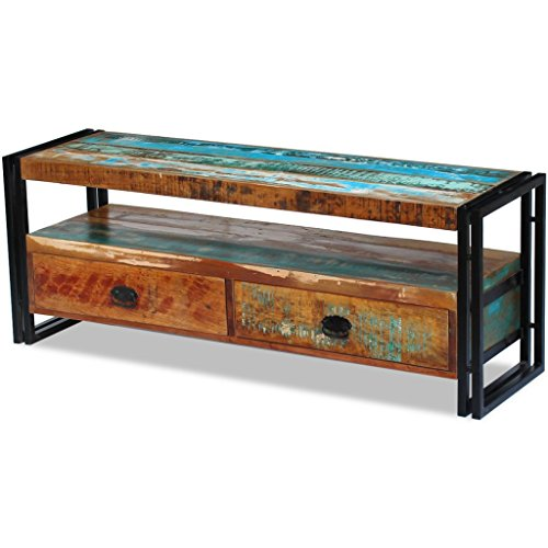 Daonanba Vintage-style TV Cabinet Solid Reclaimed Wood Stable TV Stand (Sheesham Wood Pedestals)