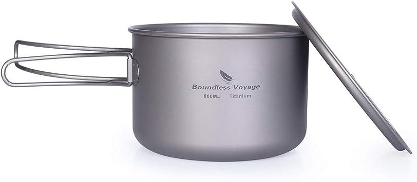 Boundless Voyage Pote de Titanio al Aire Libre de 750ml 800ml 1100ml 1300ml con Tapa Tapa de asa Plegable Acampar Senderismo Picnic Ultraligero ...
