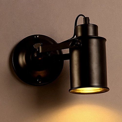 Huahan Extension Spotlight Metal Cylinder Shade Mini Small Wall Sconce Wall Lamp Lighting Fixture in Black for Living Room/Bedroom by Huahan Extension
