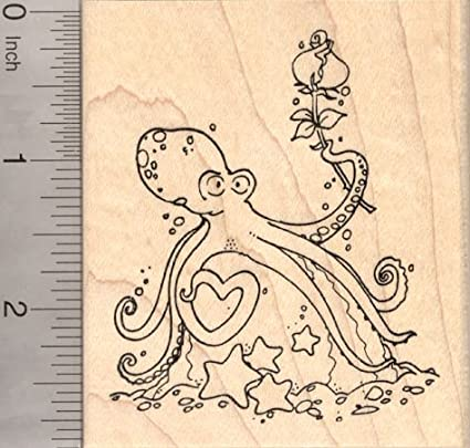 Valentines Day Octopus Rubber Stamp With Heart Tentacle