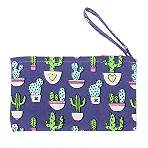 wicemoon lienzo Cactus bolígrafo moneda bolsa Securit–Banco Depósito Utility con cremallera para monedas bolsa bolso clave bolsa de funda para el móvil