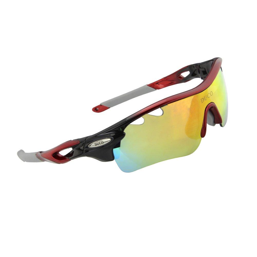 Duco Gafas de Sol Deportivas, polarizadas, con 5 Lentes Intercambiables. Protección UV400 Anti
