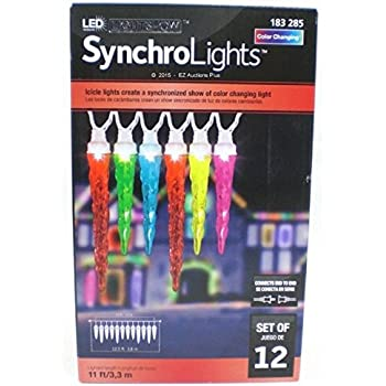 LED Synchro Lights Color Changing Icicles Set of 12 Lights