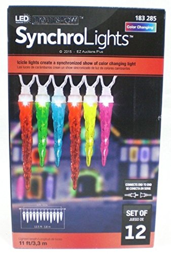 Gemmy Christmas Icicle Color Changing Light 12 Led Light Set