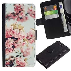 WINCASE ( No Para Xperia Z1 ) Cuadro Funda Voltear Cuero Ranura Tarjetas TPU Carcasas Protectora Cover Case Para Sony Xperia Z1 Compact D5503 - manzana árbol de flor de la naturaleza de primavera florecen