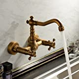 Ouku Antique Inspired Bathroom Sink Faucet Wall Mount Solid Brass Lavatory Plumbing Fixtures Lavatory Metal Basin Faucet Two Holes and Handles Bathtub Mixer Taps Bath Shower Ceramic Valve Vintage Curve Tall Spout