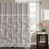Cotton Duck Shower Curtain kensie Clara Floral Cotton Blend Mildew Resistant Fabric Shower Curtain Liner Waterproof | Water Repellent & Antibacterial-Assorted Colors, 70 x 72 Inch, Linen