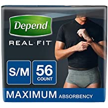 Depend Real Fit Incontinence Briefs for Men, Maximum Absorbency, S/M, Grey, 56 Count