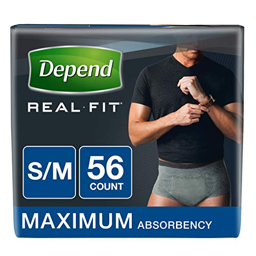 - Depend Real Fit Incontinence Briefs for Men, Maximum Absorbency, S/M, Grey, 56 Count
