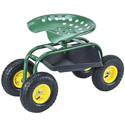 UenJoy Rolling Garden Cart Work Seat w/Heavy Duty Tool Tr...