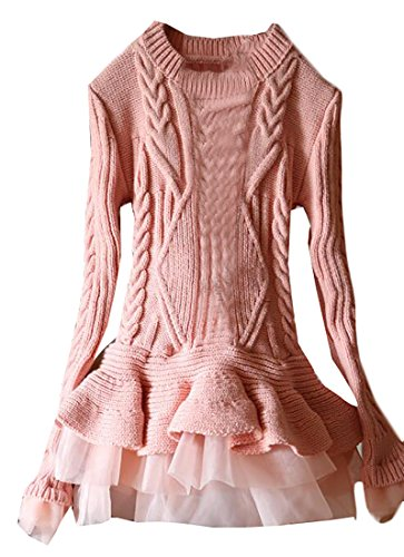Smeiling Women's Autumn Slim Ruffle Hem Long Sleeve Ribbed Sweater Pink OS