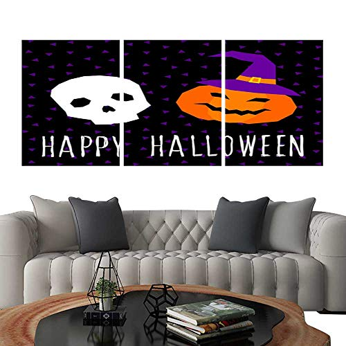 UHOO 3 Piece Wall Art Painting Happy Halloween Card Template Abstract Halloween Pattern for Design Card Party Invitation Poster Album menu t Shirt Bag Print etc 10. Living Room Kitchen -