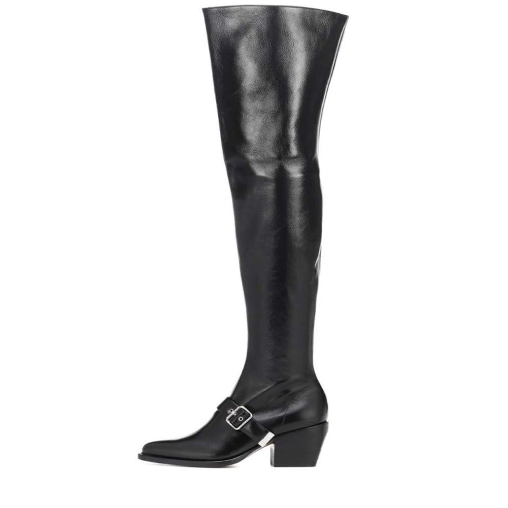 Black Themost Leather Combat Boots,Women's Over The Knee High Boot Chunky Heel Booties Thigh high Boots