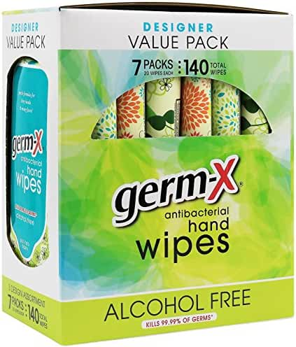 Germ-X Antibacterial Hand Wipes Designer Pack - 7 packs - 140 Total Wipes