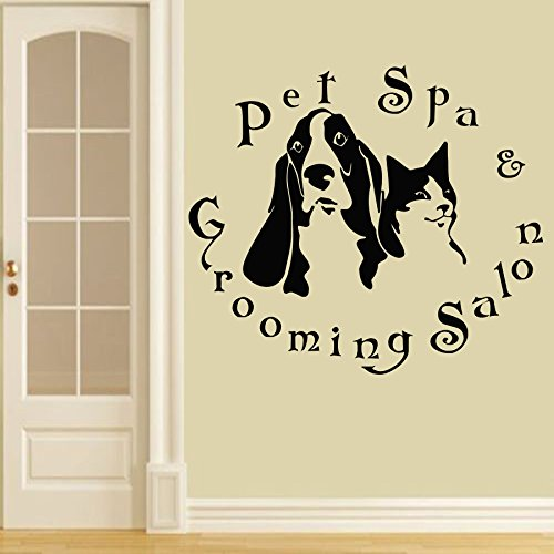 Wall Decals Domestic Animals Pet Spa Grooming Salon Dogs Cats Vinyl Decal Sticker Home Decor Design Veterinary Shop Grooming Salon ML158 (Animal Design Shop Stickers)
