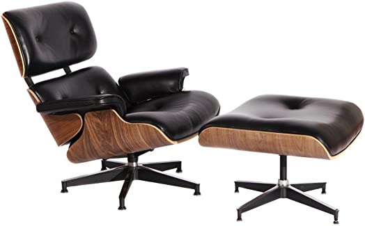 MCM Eames Style Lounge Chair with Ottoman Stool Black Aniline Leather and Walnut Plywood – HS021BL13