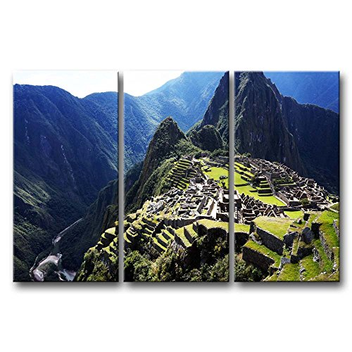 (So Crazy Art 3 Pieces Green Wall Art Painting Historic Sanctuary Of Machu Picchu Surround Mountain Prints On Canvas The Picture City Pictures Oil For Home Modern Decoration Print Decor For Furniture)