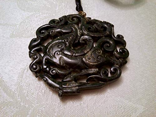 Horse Jewelry Hand Carved Jade Horse Carved Chinese Antique Nephrite 40 grams 2.5 Inch Diameter Pendant Necklace Amulet 3D