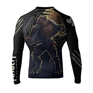Raven Fightwear Men's BJJ Horror Werewolf Long Sleeve MMA Rash Guard