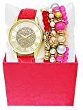 LUIS CARDINI LADIES LEATHER BAND CHARM PEARLS JEWELRY QUARTZ WATCH GIFT SET