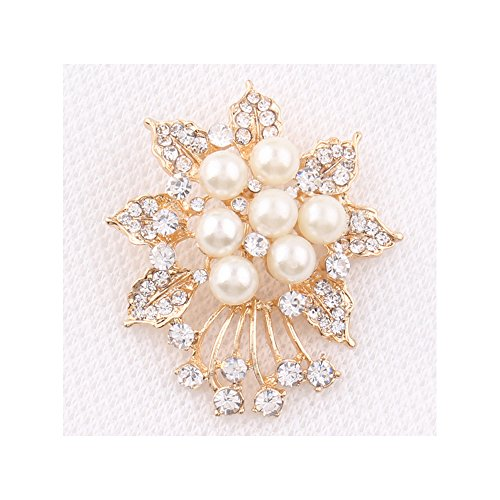 Price comparison product image Winter's Secret Sun Flower Shape Pearl Deluxe Style Diamond Accented Tassel Brooch