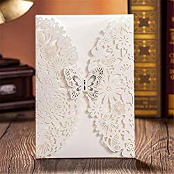 YUFENG 50x Pearl Paper Laser Cut Invitations, for Baby Shower, Wedding, Mother's Day,Brides Bridal Shower, Graduation Celebration, Birthday, Party Invitation,Thank You Cards