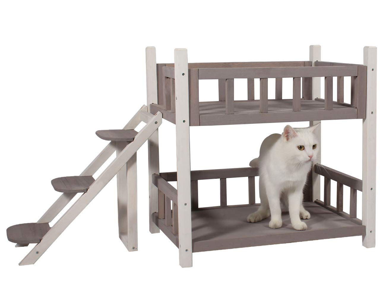 ROCKEVER Wooden Pet Bunk Bed Indoor,Dog Bed Small for Two Pets Grey by ROCKEVER