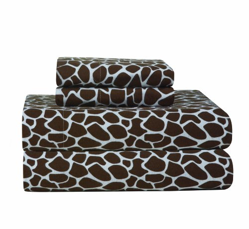 Pointehaven Heavy Weight Printed Flannel Sheet Set, Cal King, Giraffe ()