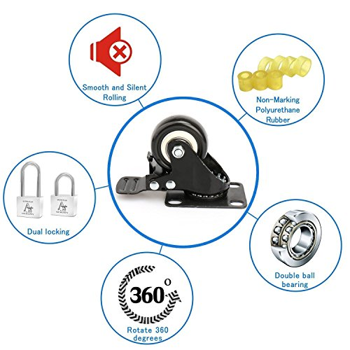 2'' Swivel Caster Wheels with Safety Dual Locking and Polyurethane Foam No Noise Wheels, Heavy Duty - 150 Lbs Per Caster (Pack of 4) by Decolighting (Image #3)