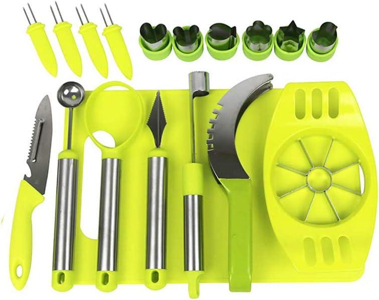 18 PCS Fruit Slicer Set Kitchen Tools with Watermelon Slicer Melon Baller Scoop Fruit Carving Knife Apple Slicer Apple Corer Pulp Deparator Corn Needles Vegetable Cutter Shapes & Chopping Board