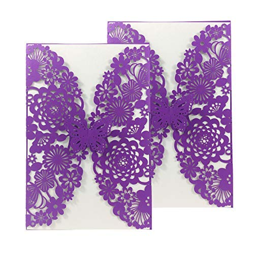 50PCS Pear Paper Laser Cut Bronzing Wedding Baby Shower Invitation Cards with Butterfly Hollow Favors Invitation Cardstock for Engagement Birthday Graduation -