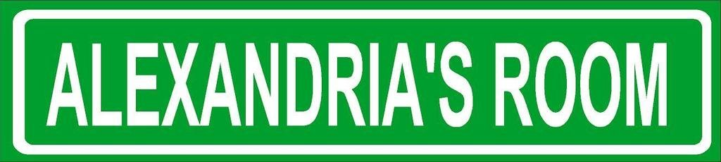 ALEXANDRIA ROOM Green Aluminum Street sign 4''x18'' great Décor for any room girls name