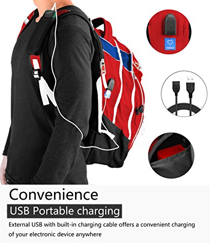 Laptop Backpack 15.6-Inch Business College Travel Computer Bag for Surface Water-Resistant Waterproof USB Charging Port Slim Light Weight Reflective Strip Rain Cover Large Capacity by Ramhorn(warmred) by Ramhorn (Image #2)