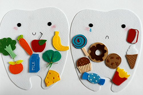 (Happy tooth - Sad tooth, Good and bad food for teeth, Felt sorting activity, Handmade by TomToy, 21x24cm tooth, Set of 2 teeth+8/16 food pcs)