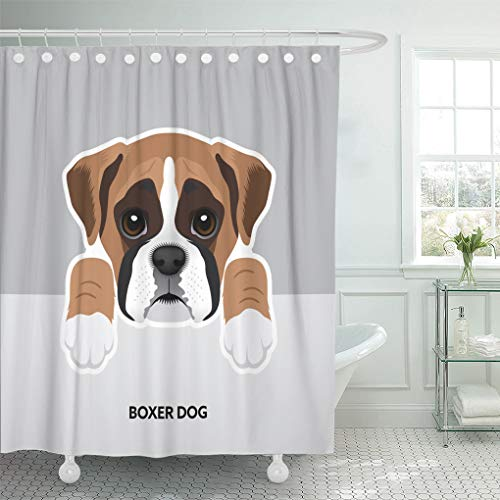 - Emvency Shower Curtain 66x72 Inch Home Postcard Decor Blue Animal Portrait of Boxer Dog Puppy Brown Face Black Cute White Beautiful Beauty Shower Hooks Set are Included