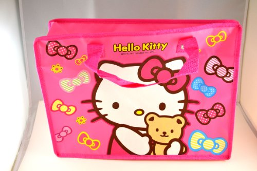 - Large Pink Hello Kitty Reusable Eco-friendly Recycled Shopping or Tote Bag w/ Zipper Closure