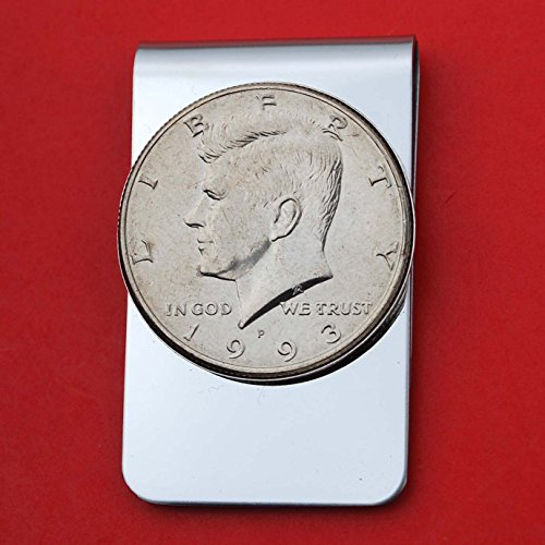 US 1993 Kennedy Half Dollar BU Uncirculated Coin Stainless Steel Money Clip NEW - Silver Plated Coin Bezel by jt6740