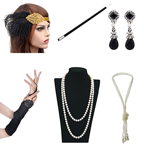 1920s Accessories Themed Costume Mardi Gras Party Prop Additions To Flapper Dress (E)