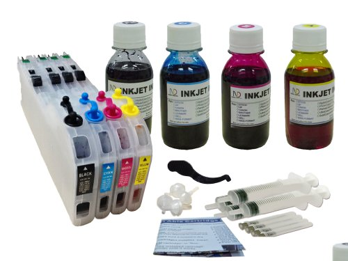 ND Brand LC101 LC103 LC105 LC107 Refillable Ink Cartridges Auto Reset Chip + 4X100ml Dye Ink Refill for BROTHER MFC-J450DW, MFC-J470DW, MFC-J475DW, MFC-J650DW, MFC-J870DW, MFC-J875DW Printers