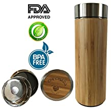 Premium Bamboo Chi Chaga Tea Tumbler Travel Mug , BPA Free, 450ml with Strainer, Stainless Steel, Double Walled, Vacuum Insulated, Perfect For Hot & Cold Beverages