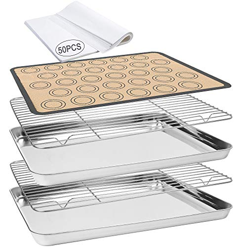 Baking Sheet, 55 PCS Baking Sheet Set with Stainless Steel 2 PCS Baking Pans+ 2 Cooling RackS+1 Silicone Baking Mat + 50…