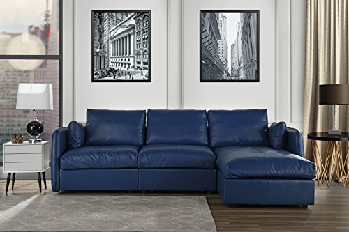 L-Shape Living Room Real Leather Sectional Sofa with Chaise Lounge (Navy) -